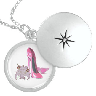 Pink Stiletto Shoes and Lilies Necklace