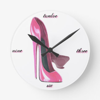 Pink Stiletto Shoes Art Round Clock
