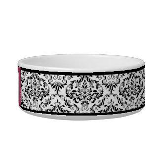 Pink Stitched Label Design Damask Cat Bowl