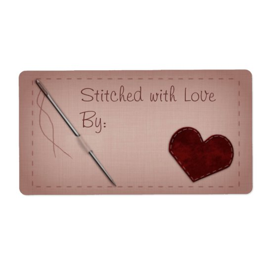"Pink ""Stitched with Love"" Sewing Gift Label Shipping Label"