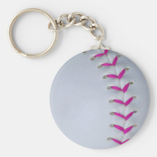 Pink Stitches Baseball / Softball Key Ring
