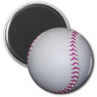 Pink Stitches Softball Fridge Magnet
