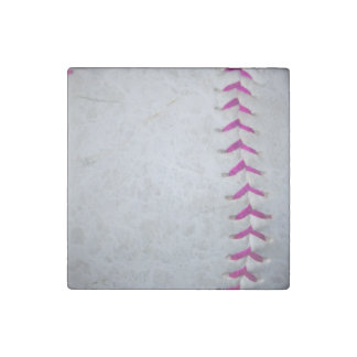 Pink Stitches Softball Stone Magnet