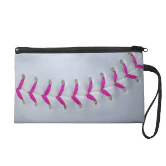 Pink Stitches Softball Wristlet Clutches