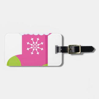 Pink Stocking Luggage Tag