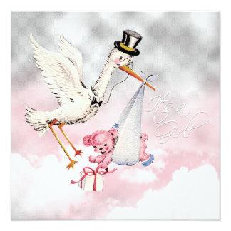"Pink Stork Baby Girl Shower 5.25"" Square Invitation Card"