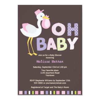 Pink Stork Baby Shower 13 Cm X 18 Cm Invitation Card