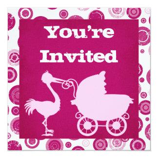 Pink Stork Baby Shower Invitation for Girls