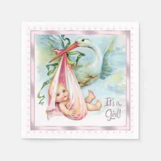 Pink Stork Baby Shower Paper Napkins