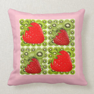 PINK STRAWBERRIES GREEN KIWI FRUIT ART CUSHION