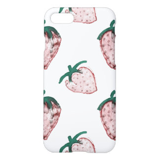 Pink Strawberries Tiled on Creamy White Background iPhone 7 Case