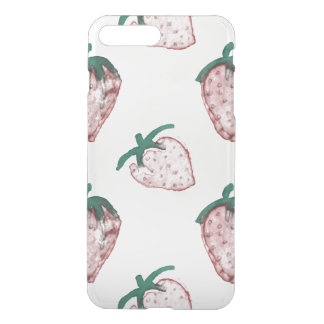 Pink Strawberries Tiled on Creamy White Background iPhone 7 Plus Case