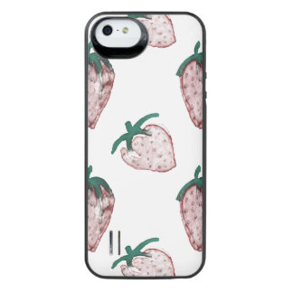 Pink Strawberries Tiled on Creamy White Background iPhone SE/5/5s Battery Case
