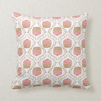 Pink Strawberry Champagne Cupcake Pillow Throw Cushion