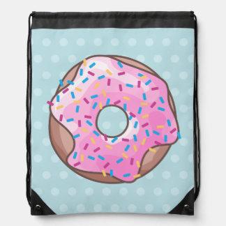 Pink Strawberry Donut Drawstring Bag