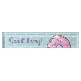 Pink Strawberry Donut Nameplate