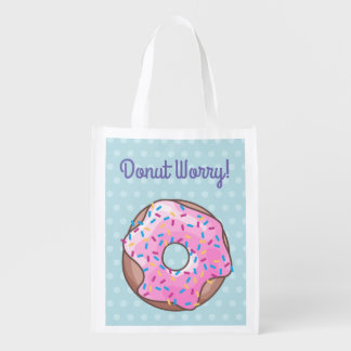 Pink Strawberry Donut Reusable Grocery Bag