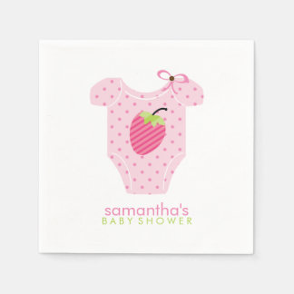 Pink Strawberry Dots Baby Outfit Baby Shower Disposable Napkins