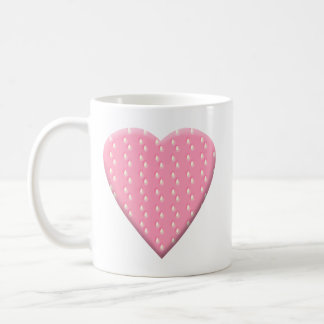 Pink Strawberry Heart. Basic White Mug