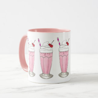 Pink Strawberry Ice Cream Shake Milkshake Dessert Mug