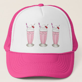 Pink Strawberry Ice Cream Shake Milkshake Dessert Trucker Hat