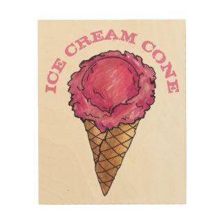 Pink Strawberry Ice Cream Waffle Cone Food Kitchen Wood Wall Art
