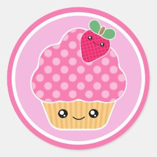 Pink Strawberry Kawaii Cupcake Stickers