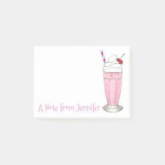 Pink Strawberry Milkshake Personalized Ice Cream Post-it Notes