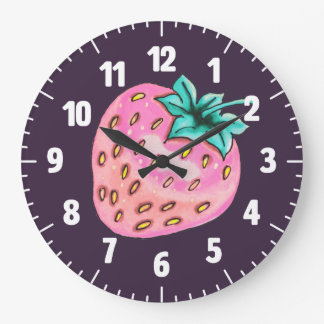 Pink strawberry on purple background large clock