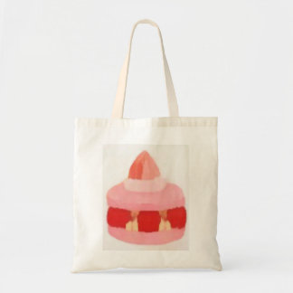 pink strawberry pastry tote bag