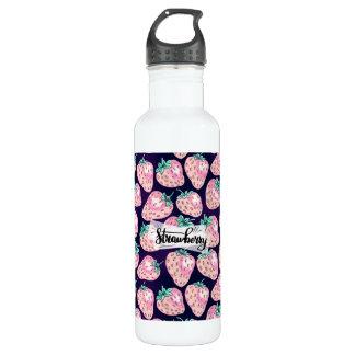 Pink Strawberry pattern on purple background 710 Ml Water Bottle