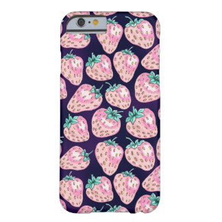 Pink Strawberry pattern on purple background Barely There iPhone 6 Case