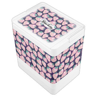 Pink Strawberry pattern on purple background Cooler