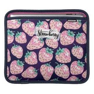 Pink Strawberry pattern on purple background iPad Sleeve