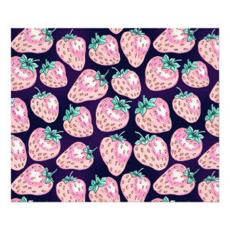Pink Strawberry pattern on purple background Photo Print