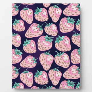 Pink Strawberry pattern on purple background Plaque