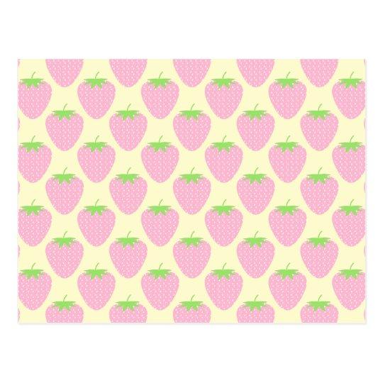 Pink Strawberry Pattern. Postcard