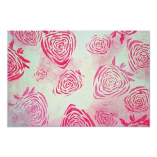 Pink Strawberry Roses Poster