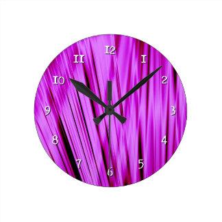 Pink streaked lines pattern round clock