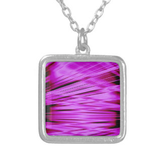 Pink streaked lines pattern silver plated necklace