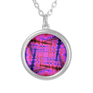 Pink streaked pattern silver plated necklace