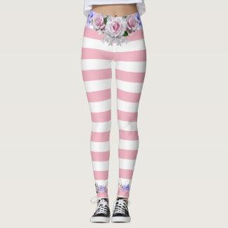 Pink Strip Roses Leggings