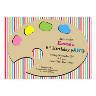 Pink Stripe Art Party - Personalized Invitation