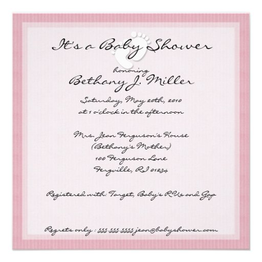 PInk Stripe Baby Shower Invitations