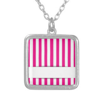 Pink stripe background square pendant necklace