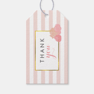 Pink Stripe & Blush Peony Bridal Shower Favor Tags
