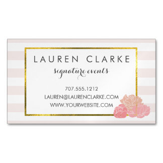 Pink Stripe & Blush Peony Magnetic Business Cards