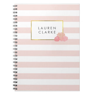 Pink Stripe & Blush Peony Notebook