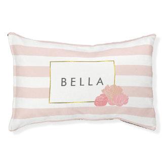 Pink Stripe & Blush Peony Personalized Dog Bed