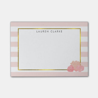 Pink Stripe & Blush Peony Personalized Notes